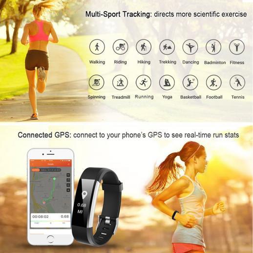 ID115HR PLUS Smart Armband Herzfrequenzmesser Fitness Tracker Pulsmesser - Schwarz