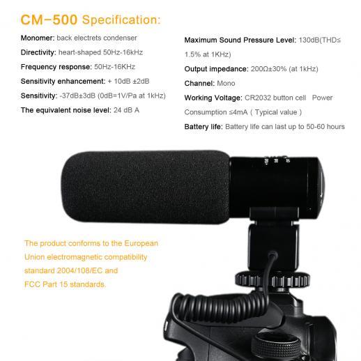 CM-500 Kamera Mikrofon für Video Fotografie mit 3.5mm-Klinke